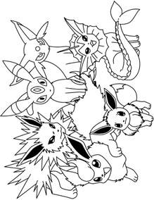 eevee vaflareon colouring pages