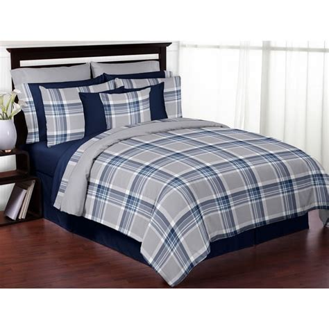 navy blue full size comforter sweet jojo designs navy blue and grey plaid 3 piece full