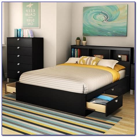 black full size bed frame with headboard bedroom home
