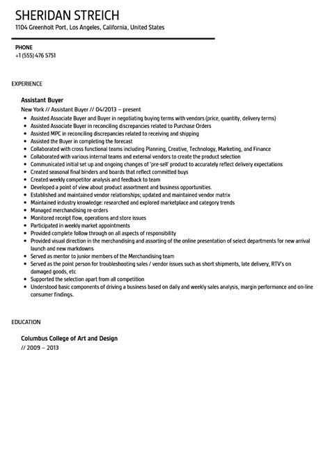 resume templates for a buyer assistant buyer resume sle velvet jobs