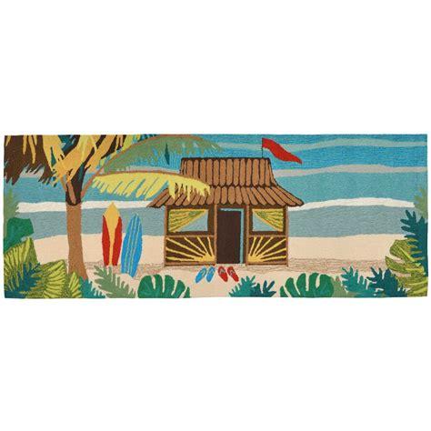 tiki rug maneck frontporch collection tiki hut indoor outdoor rug tiki hut multi 27 quot x72 quot