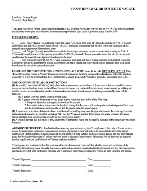landlord not renewing lease letter to tenant best of notice lease