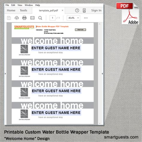 printable custom water bottle wrapper pdf template print
