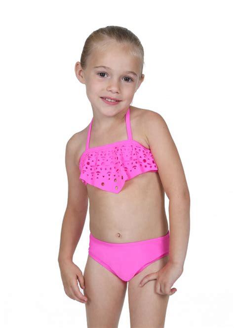 little girls in bathing suits gossip girl wonderland hot pink eyelet ruffle top bikini 2