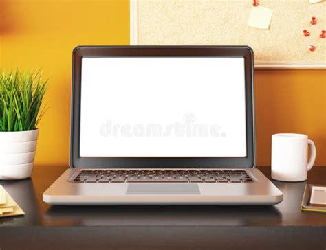 ordinateur de bureau avec ecran bureau 3d avec l 233 cran vide d ordinateur portable maquette
