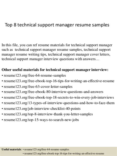 resume sles for technical support managers top 8 technical support manager resume sles