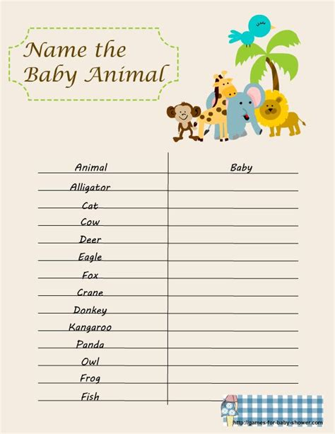 printable animal guessing game baby shower games free printable name the baby animal