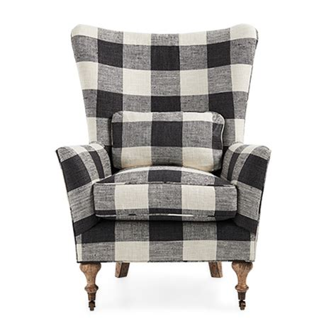 Bed Armchair Pillow Rio 35 Quot Upholstered Chair In Check Please Thunder Arhaus