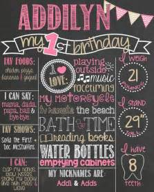 Birthday Chalkboard Template by Pink And Gold Birthday Chalkboard Poster 1st