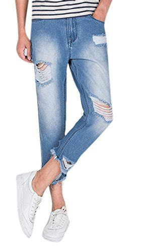 Distressed Cropped Slim Fit s distressed light wash ripped slim fit ankle cropped