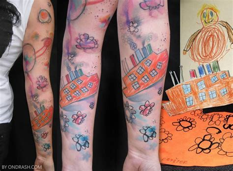 kids drawing tattoo artist ondrash inks watercolor paintings into skin