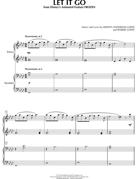 tutorial piano let it go let it go sheet music by robert lopez piano duet 155452