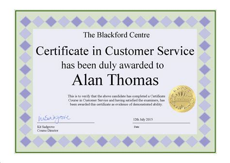 service certification blackford center for customer service