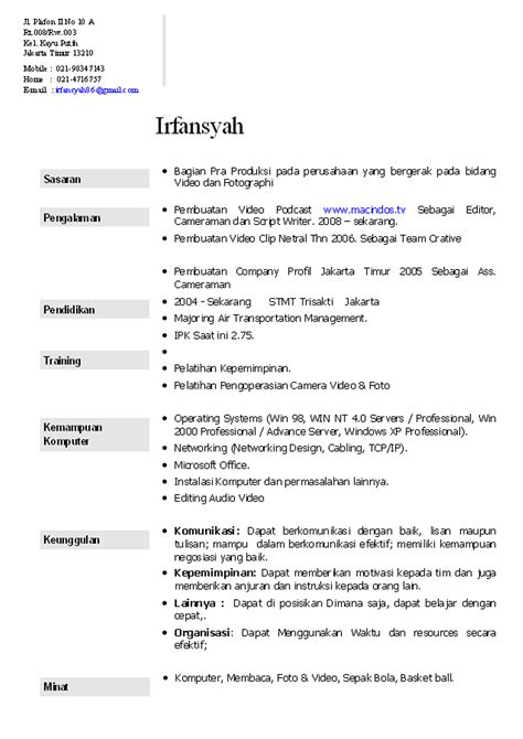 cv template download indonesia download cv template indonesia