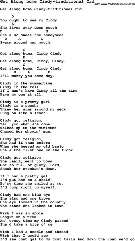 skiffle lyrics for get along home traditional with