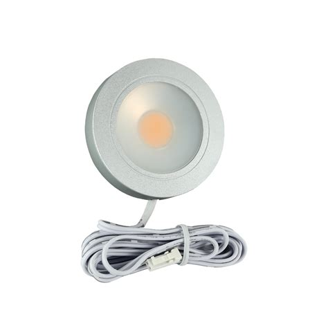 3 5w Led Retrofit Cabinet Light Warm White Round Silver Warm White Cabinet Lighting