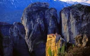 monastery mountain cliff rock greece sunlight nature