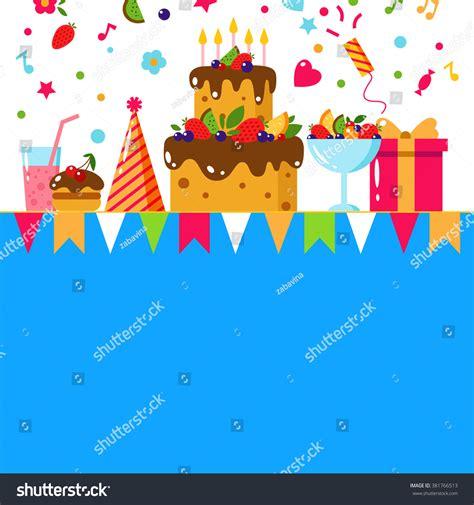 happy birthday flat design happy birthday card flat vector illustration stock vector