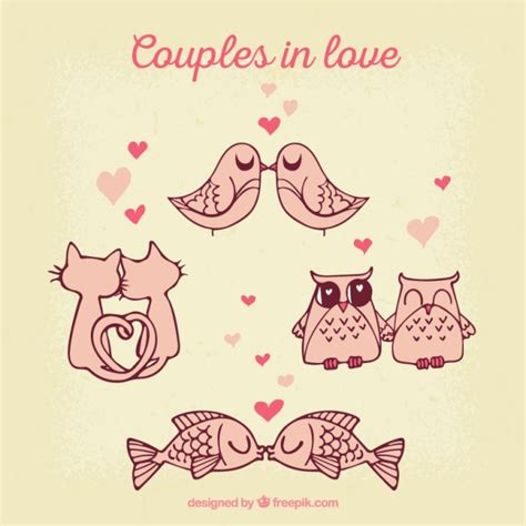 imagenes de amor animadas de animales parejas de animales enamorados descargar vectores gratis