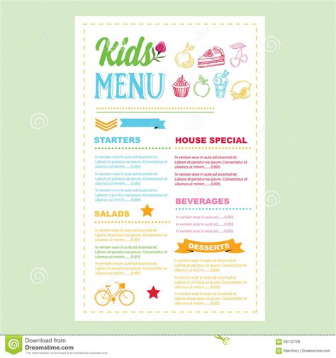 kid menu template menu vector template stock vector image 58132728