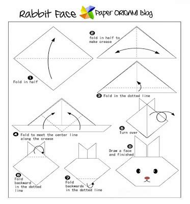 Origami Rabbit Diagram - animals origami rabbit paper origami guide