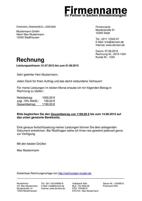 Muster Rechnung Vermittlungsprovision Rechnungsmuster Kostenlos Rechnung Muster F 252 R Jeden Zweck