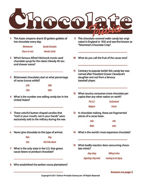 printable quiz games chocolate facts trivia game chocolate