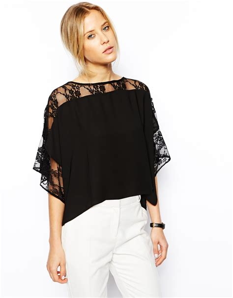 kimono t shirt pattern asos t shirt with lace trim kimono sleeve in black lyst