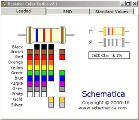 resistor color code table calculator tapas software september 2012