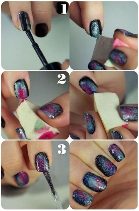 galaxy nail art tutorial easy 15 pretty and easy nail tutorials you must have pretty