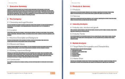 business plans templates free business plan template free free business template