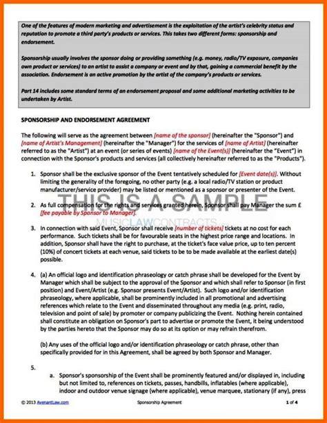 Endorsement Contract Template Sletemplatess Sletemplatess Endorsement Contract Template
