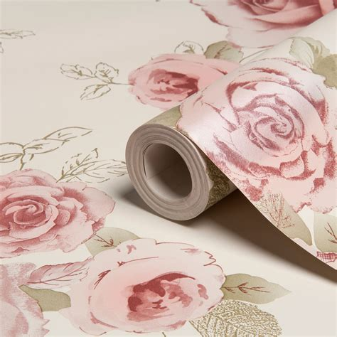pink wallpaper b q arthouse vintage nicky cream green rose floral