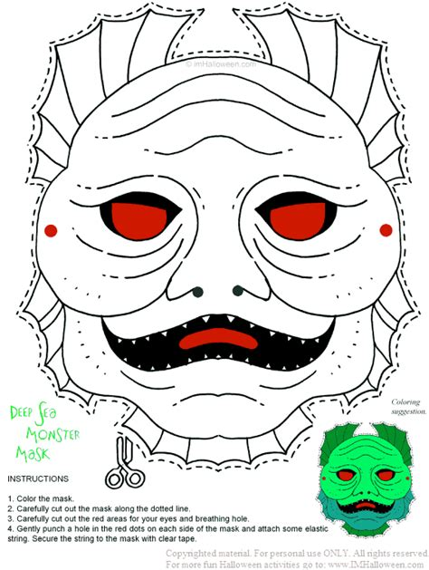 monster mask coloring page deep sea monster mask printout gt more fun activities