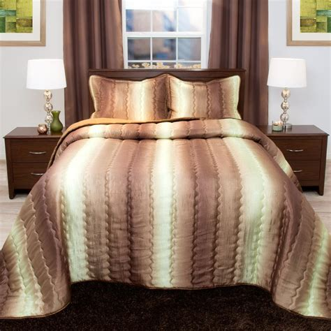 metallic comforter set lavish home striped cocolate and taupe metallic queen 3
