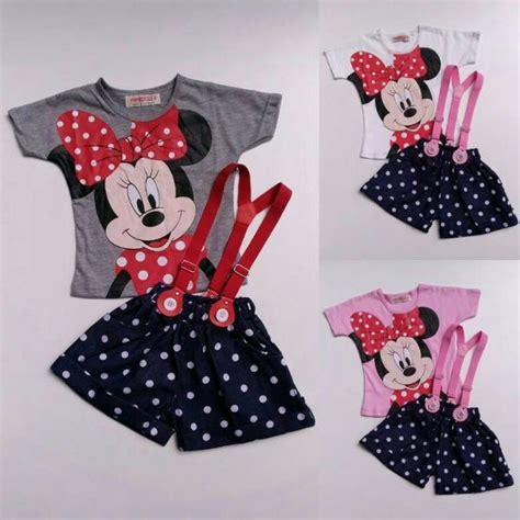 Setelan Baju Tidur Anak Perempuan Minnie Mouse P278 jual baju setelan anak perempuan kaos minnie mouse suspender celana denim 1115 di lapak vera