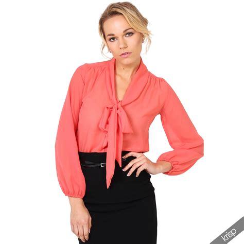 See Through Blouse by Krisp Womens See Through Chiffon Blouse Tie