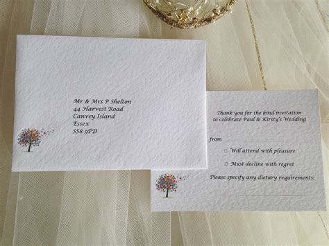 Wedding Invitations Rsvp Card In Envelope by Tree Rsvp Cards And Envelopes Wedding Stationery