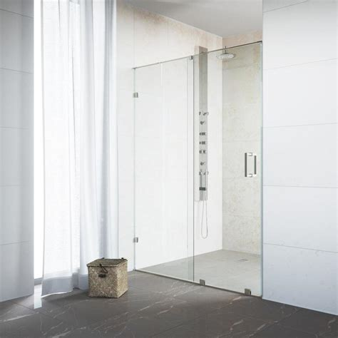 Vigo Frameless Shower Door Shop Vigo Ryland 58 In To 60 In W Frameless Stainless Steel Sliding Shower Door At Lowes