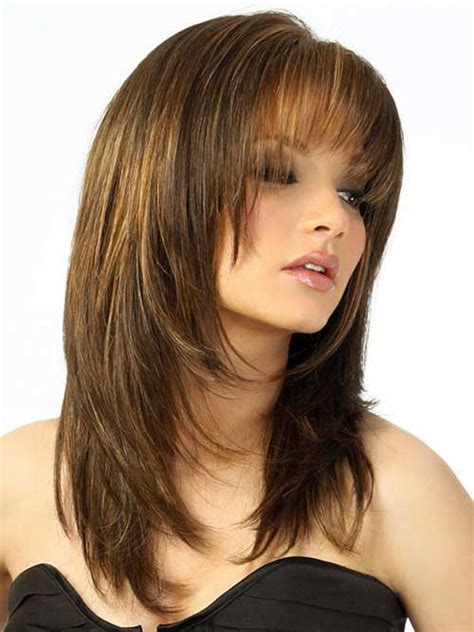 styling heavily layered hair layered cut with bangs hairstyles for round faces things
