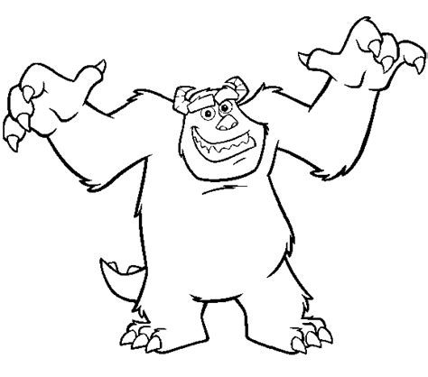 monsters inc coloring page sulley scaring all kids network