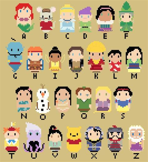 disney alphabet chibi disney character alphabet by kanitted on deviantart