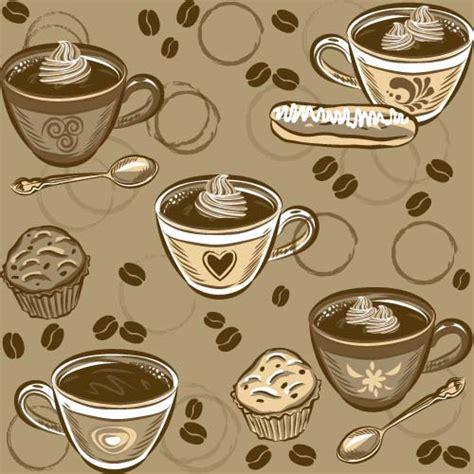 coffee cup  spoon vintage vector pattern