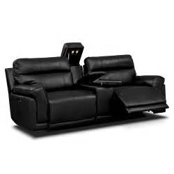 Kingvale Power Recliner Antonio Black Power Reclining Sofa With Console Furniture