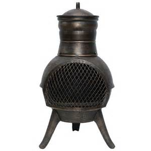 Small Metal Chiminea La Hacienda Squat Cast Iron Steel Chiminea 70cm On Sale