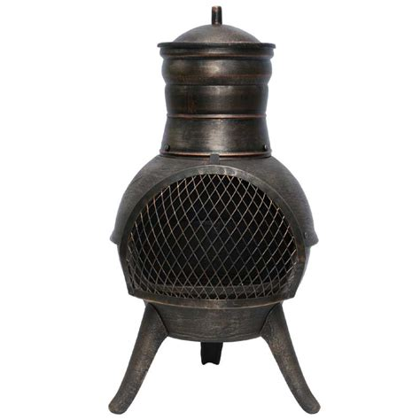 Cast Iron Chiminea la hacienda squat cast iron steel chiminea 70cm on sale fast delivery greenfingers