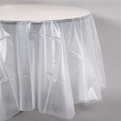 plastic table cover creative converting 700418 82 quot clear octyround plastic