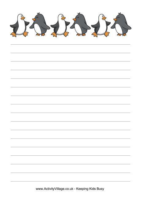 penguin writing paper penguins writing paper