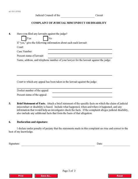 Complaint Letter Against Employee Misconduct Form Ao 310 Complaint Of Judicial Misconduct Or Disability
