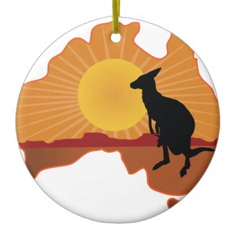 australia kangaroo double sided ceramic round christmas